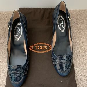 TODS Navy Blue Kitten Heel Pumps